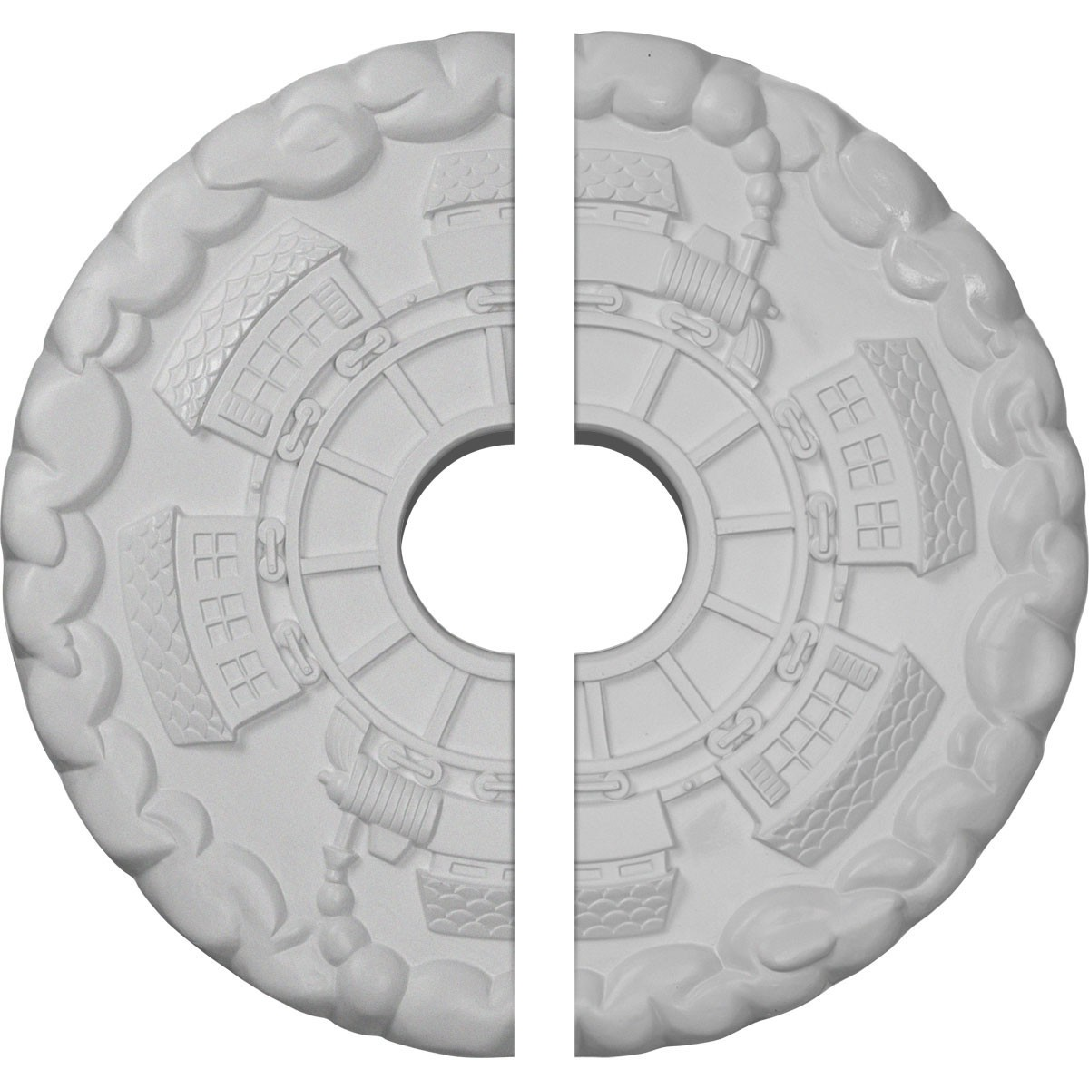 """EM-CM18KD2 - 18 1/2""""OD x 3 7/8""""ID x 1""""P Kendall Train Station Ceiling Medallion, Two Piece (Fits Canopies up to 3 7/8"""")"""