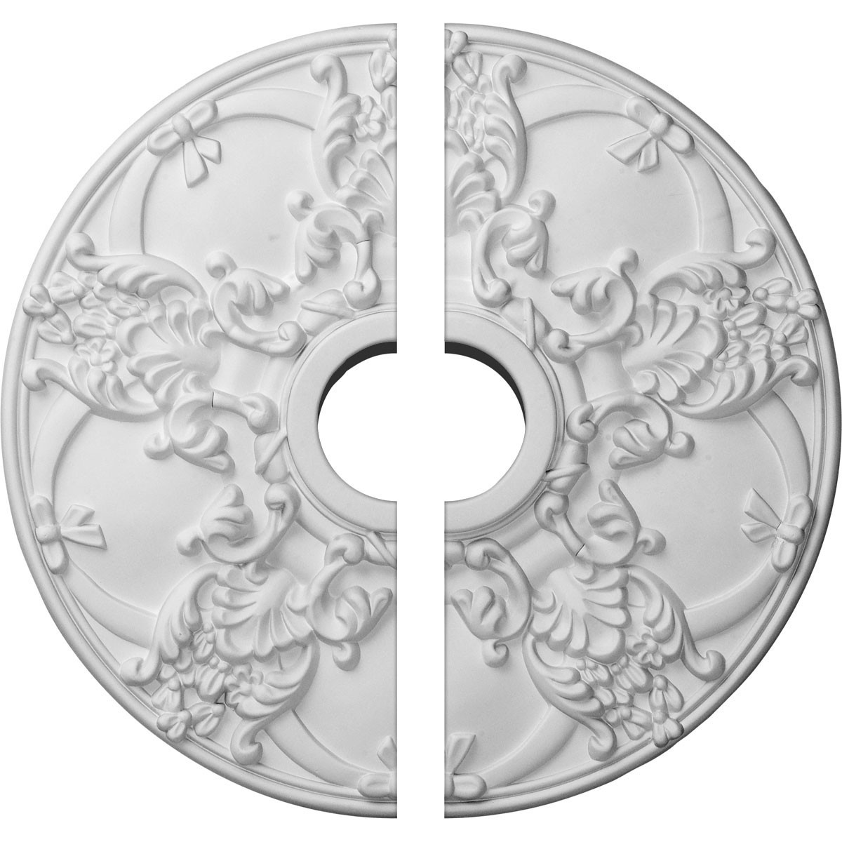 """EM-CM18NO2 - 18""""OD x 3 1/2""""ID x 1 3/8""""P Norwich Ceiling Medallion, Two Piece (Fits Canopies up to 4 1/2"""")"""