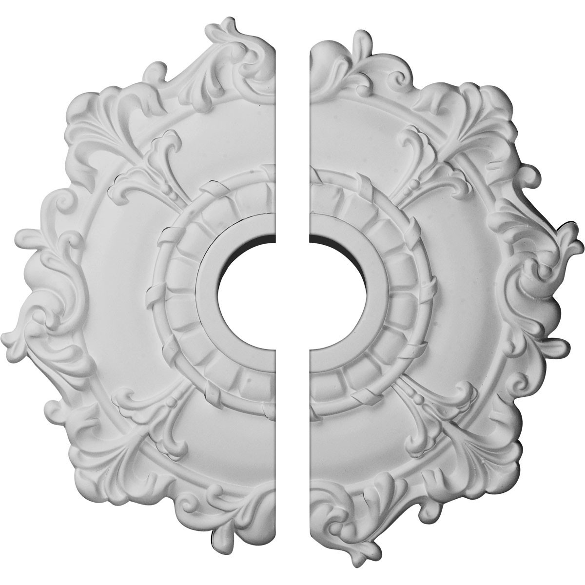 """EM-CM18RL2 - 18""""OD x 3 1/2""""ID x 1 1/2""""P Riley Ceiling Medallion, Two Piece (Fits Canopies up to 4 5/8"""")"""