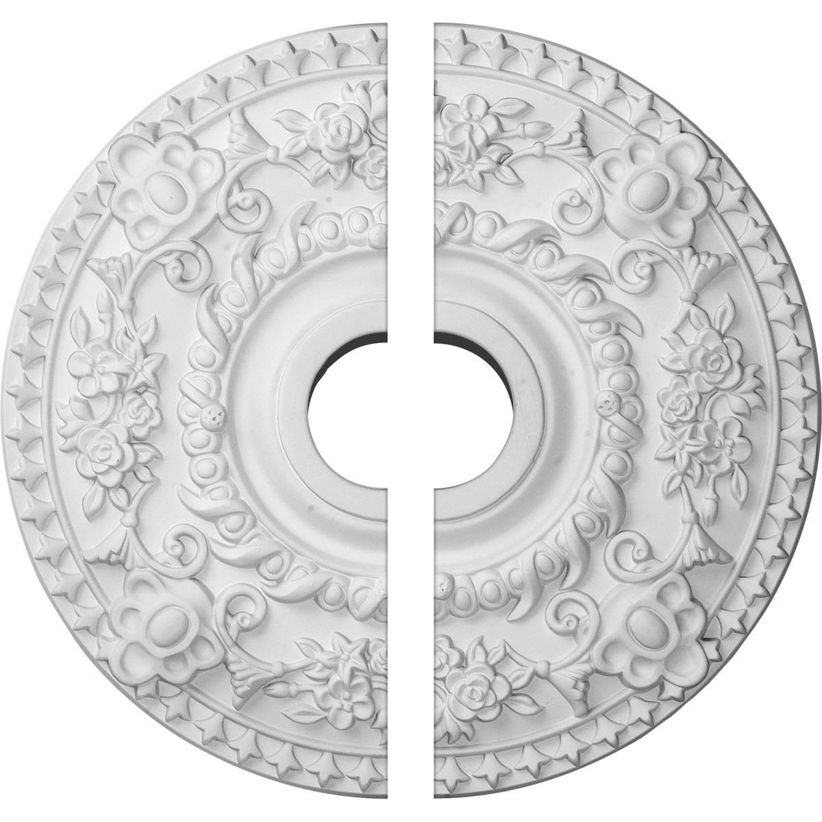 """EM-CM18RO2 - 18""""OD x 3 1/2""""ID x 1 1/2""""P Rose Ceiling Medallion, Two Piece (Fits Canopies up to 7 1/4"""")"""