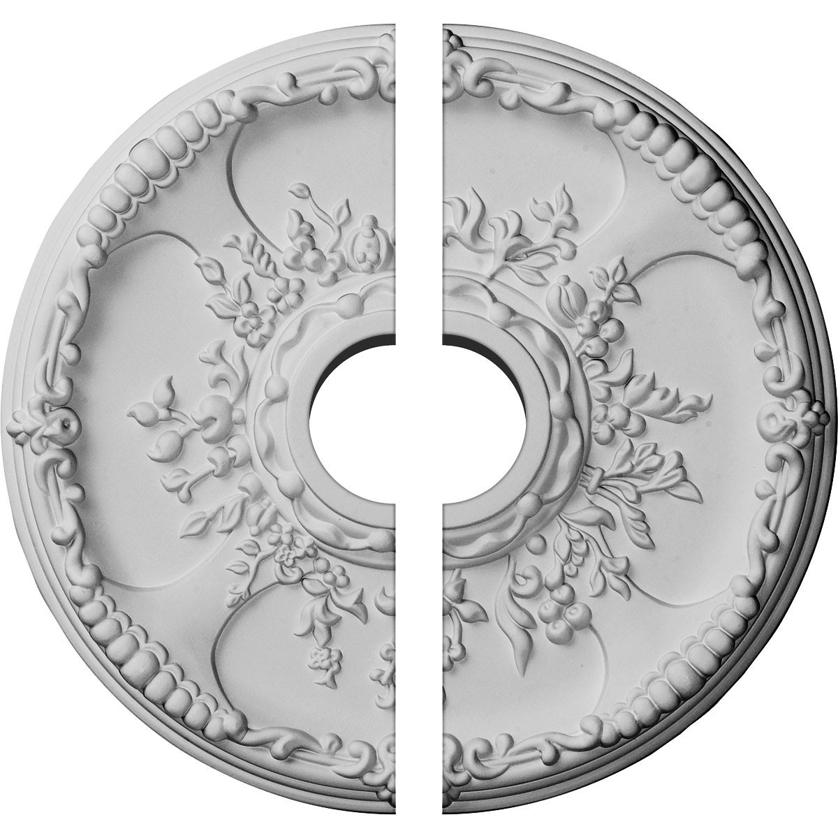 """EM-CM18SE2 - 18""""OD x 3 1/2""""ID x 1 3/8""""P Antioch Ceiling Medallion, Two Piece (Fits Canopies up to 3 1/2"""")"""