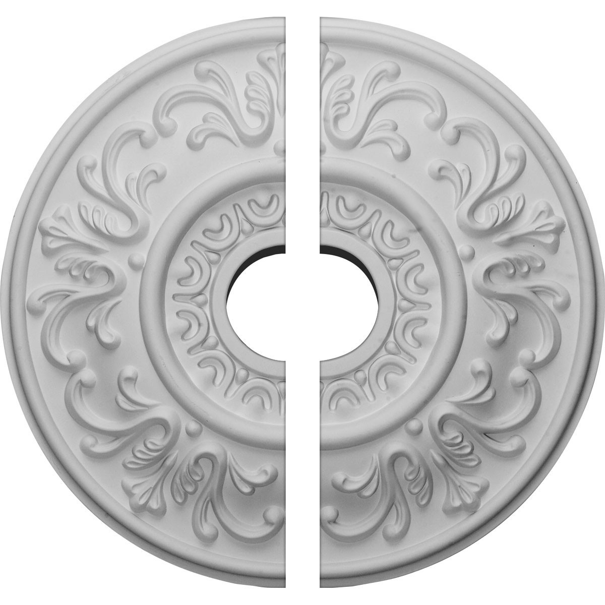 "EM-CM18VL2 - 18""OD x 3 1/2""ID x 1""P Valletta Ceiling Medallion, Two Piece (Fits Canopies up to 3 1/2"")"