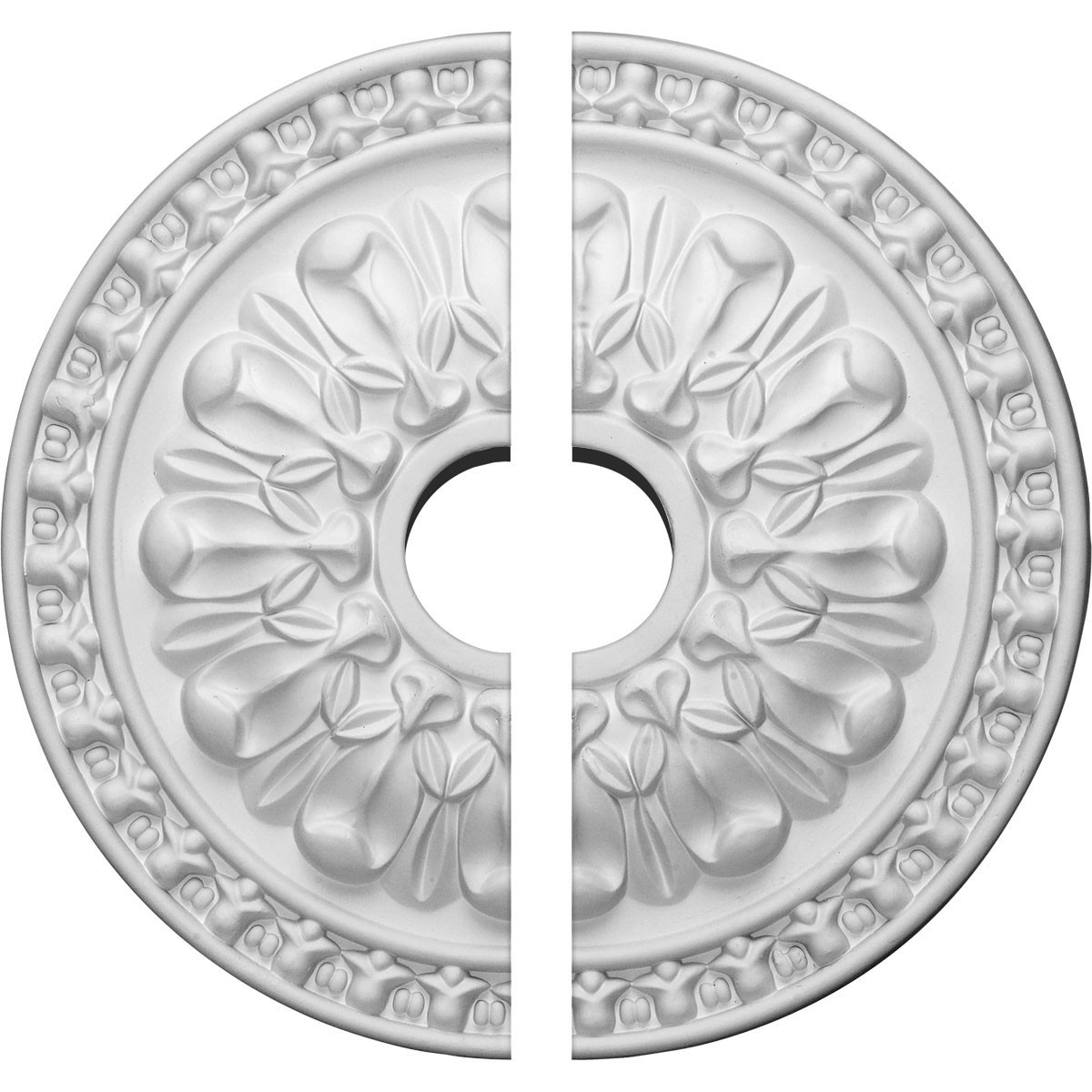 "EM-CM18WA2 - 18""OD x 3 1/2""ID x 1 3/8""P Warsaw Ceiling Medallion, Two Piece (Fits Canopies up to 3 1/2"")"