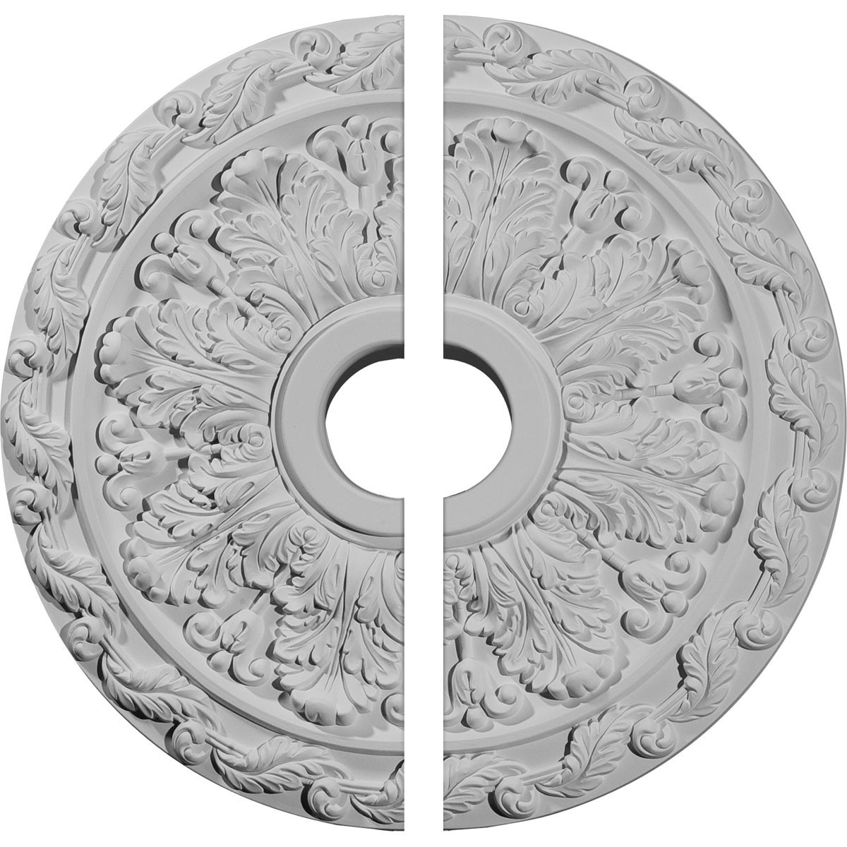 """EM-CM19SP2 - 19 7/8""""OD x 3 5/8""""ID x 1 1/4""""P Spring Leaf Ceiling Medallion, Two Piece (Fits Canopies up to 5 5/8"""")"""