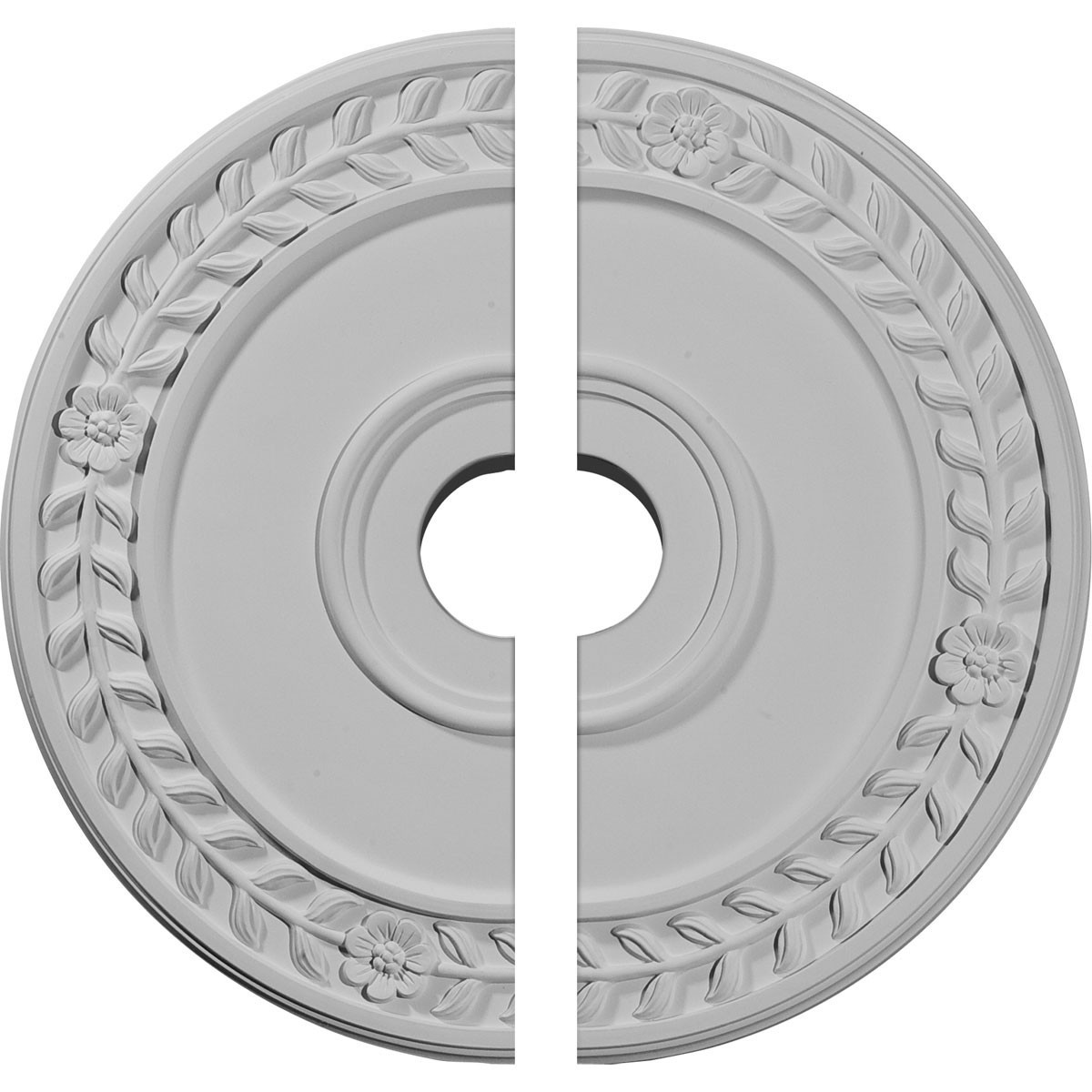 "EM-CM21WR2 - 21 1/8""OD x 3 5/8""ID x 7/8""P Wreath Ceiling Medallion, Two Piece (Fits Canopies up to 6"")"