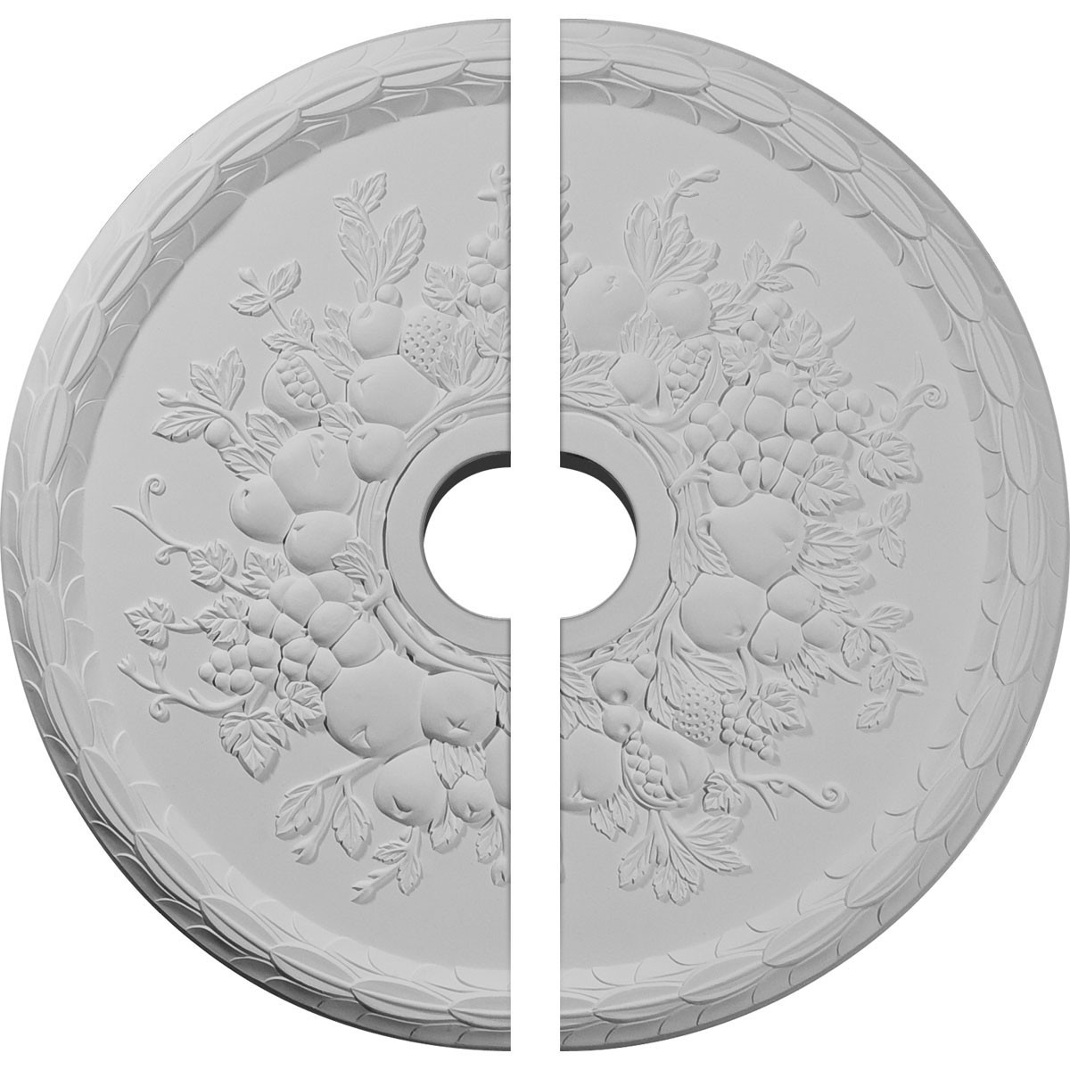 "EM-CM22GR2 - 22 5/8""OD x 3 5/8""ID x 5/8""P Grape Ceiling Medallion, Two Piece (Fits Canopies up to 3 5/8"")"