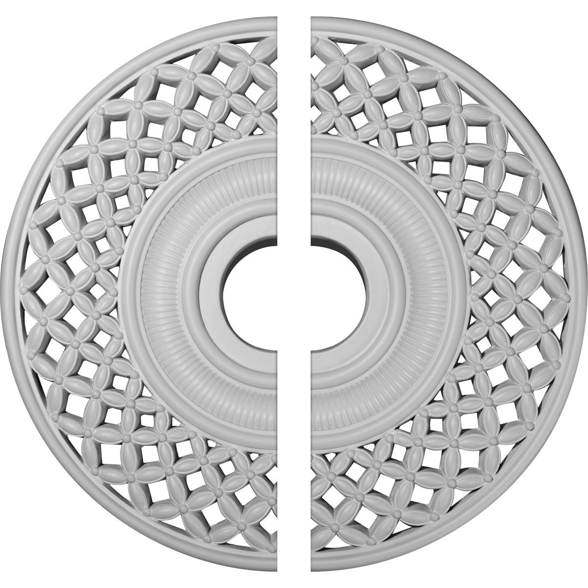 """EM-CM22RB2 - 22 1/4""""OD x 4 3/4""""ID x 1 1/4""""P Robin Ceiling Medallion, Two Piece (Fits Canopies up to 6 1/4"""")"""