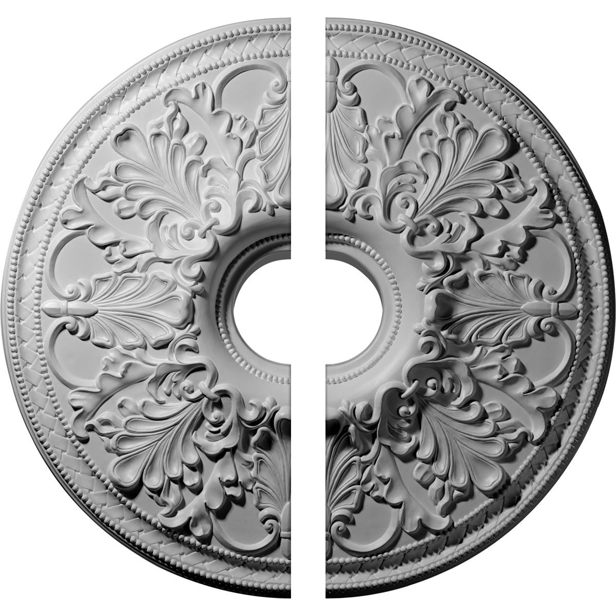 """EM-CM23AS2 - 23 7/8""""OD x 4""""ID x 2 1/8""""P Ashley Ceiling Medallion, Two Piece (Fits Canopies up to 4 3/4"""")"""