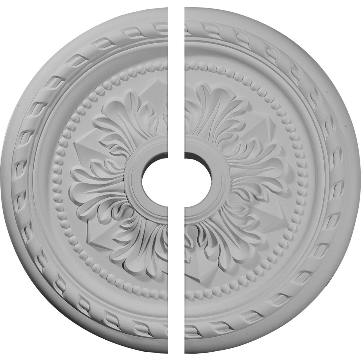 """EM-CM23PM2 - 23 5/8""""OD x 3 5/8""""ID x 1 5/8""""P Palmetto Ceiling Medallion, Two Piece (Fits Canopies up to 3 5/8"""")"""