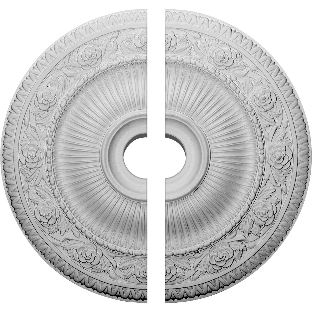 """EM-CM24LO12 - 24 1/4""""OD x 3 7/8""""ID x 2""""P Logan Ceiling Medallion, Two Piece (Fits Canopies up to 6 1/8"""")"""