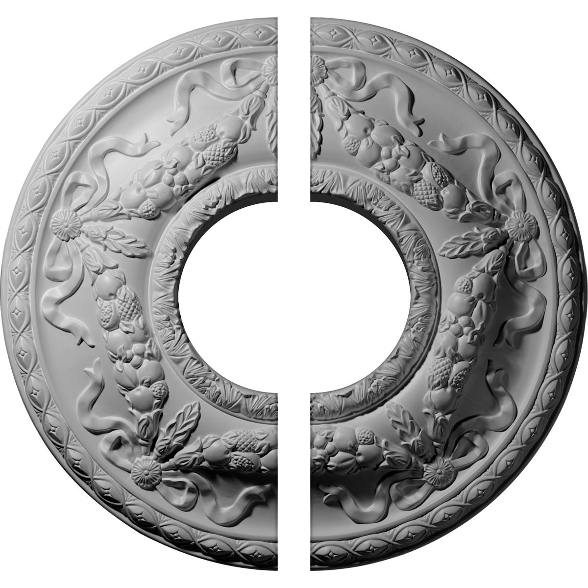 """EM-CM26HU2 - 22 1/8""""OD x 7 1/4""""ID x 1 3/4""""P Hurley Ceiling Medallion, Two Piece (Fits Canopies up to 7 1/4"""")"""