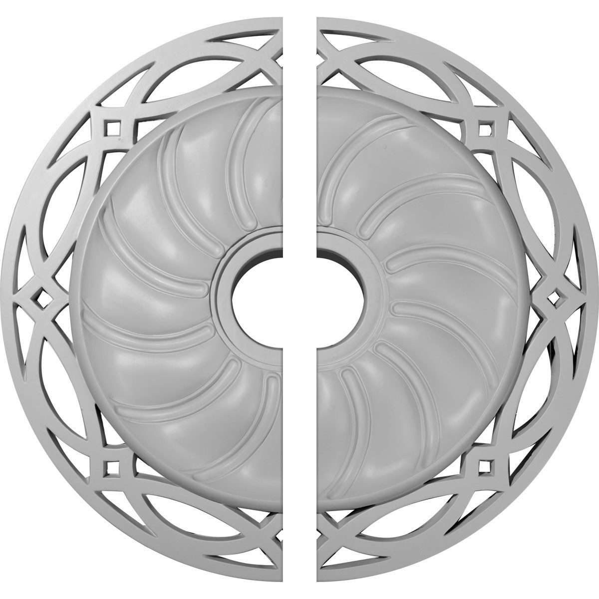 """EM-CM26LO2 - 26 5/8""""OD x 4 1/2""""ID x 1 3/8""""P Loera Ceiling Medallion, Two Piece (Fits Canopies up to 6 1/4"""")"""