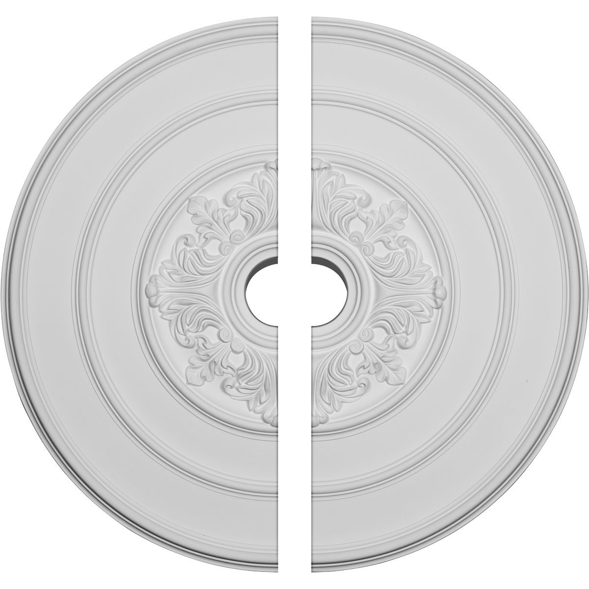 """EM-CM26TA2 - 26""""OD x 3 1/8""""ID x 1 1/2""""P Traditional with Acanthus Leaves Ceiling Medallion, Two Piece (Fits Canopies up to 4 1/4"""")"""