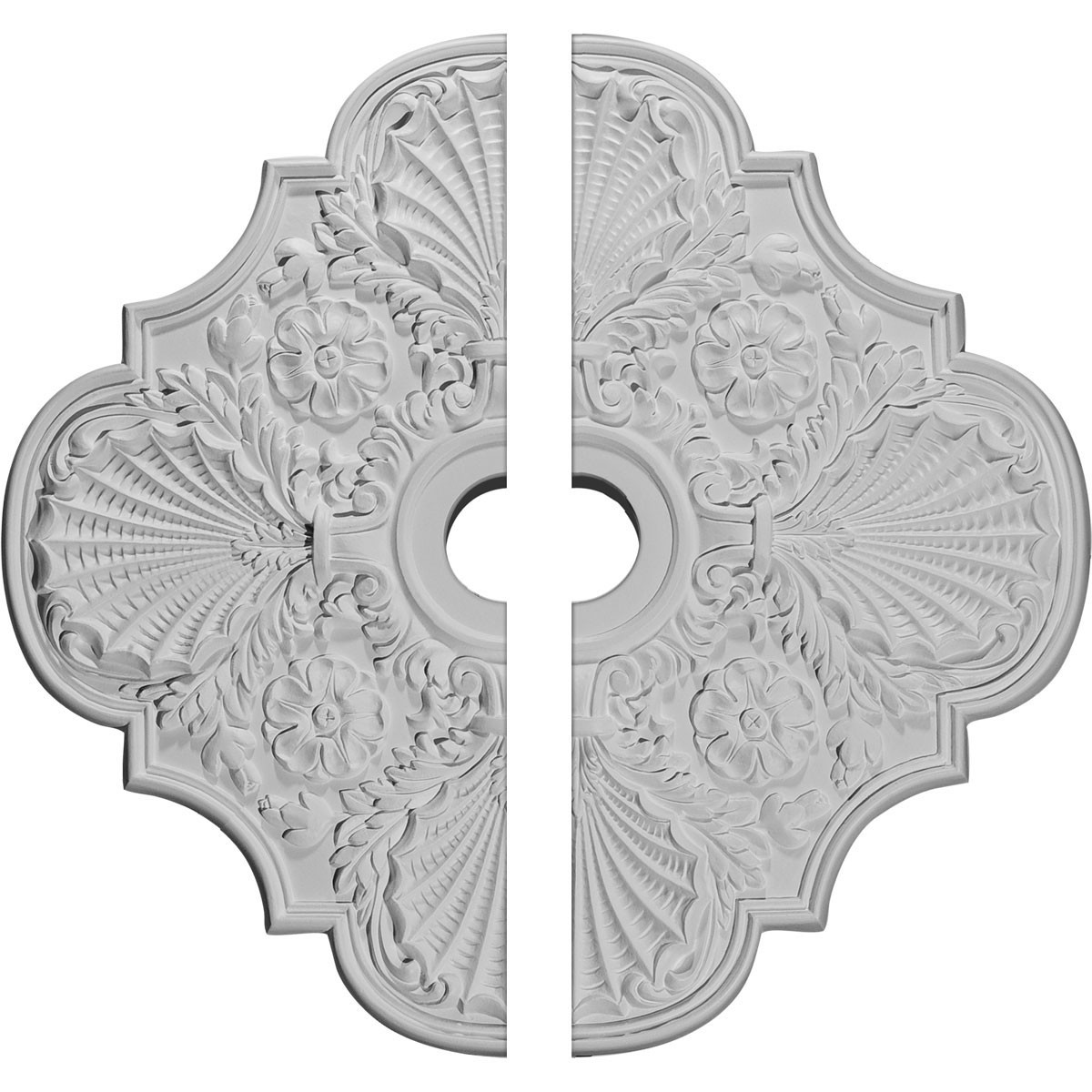 """EM-CM29FW2 - 29""""OD x 3 5/8""""ID x 1 3/8""""P Flower Ceiling Medallion, Two Piece (Fits Canopies up to 6 1/4"""")"""