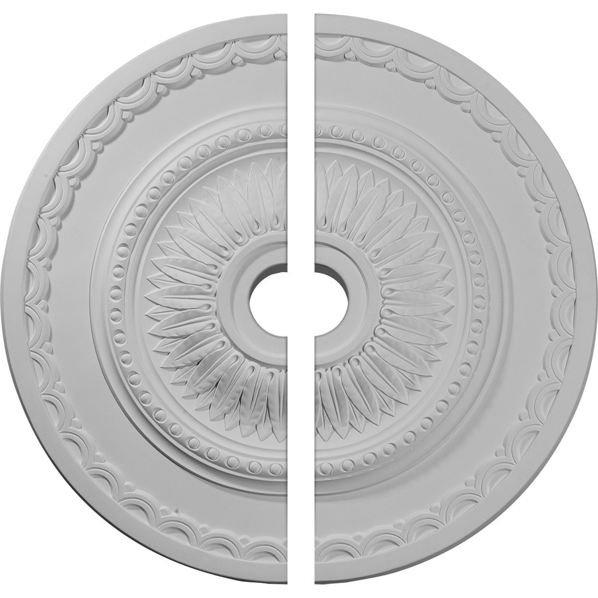 """EM-CM29SF2 - 29 1/2""""OD x 3 5/8""""ID x 1 5/8""""P Sunflower Ceiling Medallion, Two Piece (Fits Canopies up to 5 5/8"""")"""