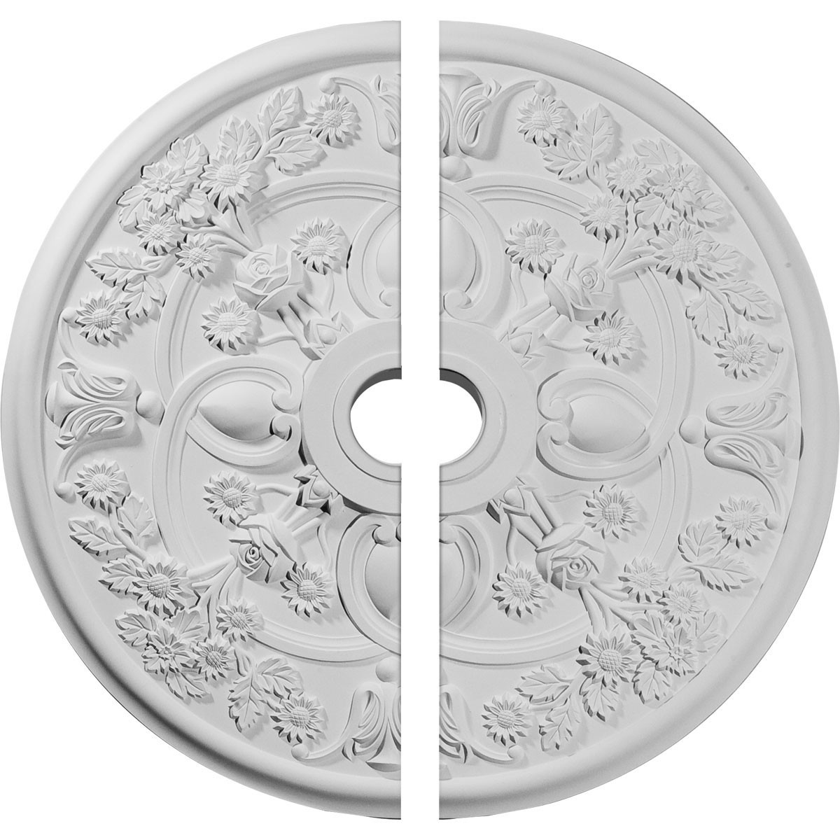 """EM-CM30RO2 - 30 7/8""""OD x 3 5/8""""ID x 1 3/8""""P Rose Ceiling Medallion, Two Piece (Fits Canopies up to 5 1/4"""")"""