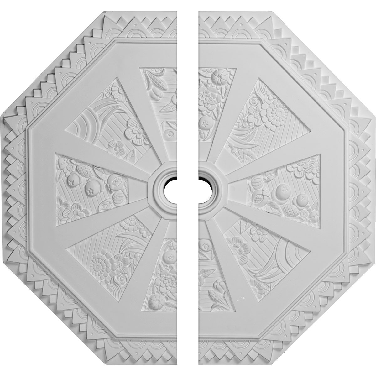 """EM-CM30SP2 - 29 1/8""""OD x 2 1/4""""ID x 1 1/8""""P Spring Octagonal Ceiling Medallion, Two Piece (Fits Canopies up to 3"""")"""