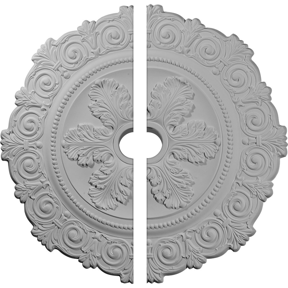 """EM-CM33SC2 - 33 1/4""""OD x 3 5/8""""ID x 1""""P Scroll Medallion, Two Piece (Fits Canopies up to 3 5/8"""")"""