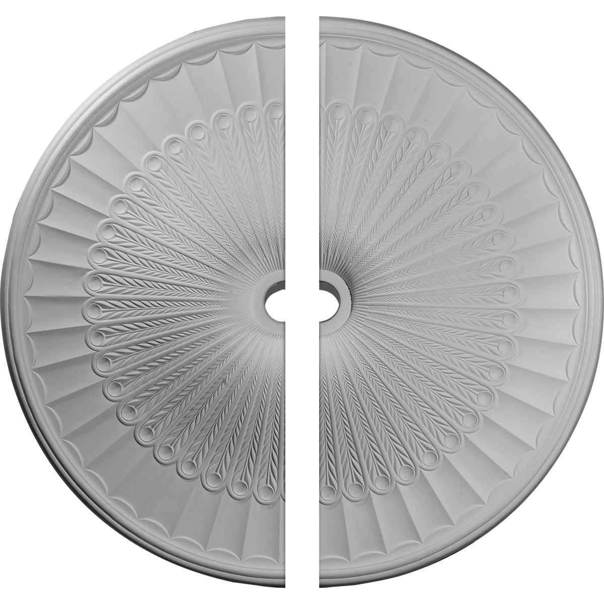 """EM-CM51GL2 - 51""""OD x 3 5/8""""ID x 3 3/8""""P Galveston Ceiling Medallion, Two Piece (Fits Canopies up to 5 7/8"""")"""