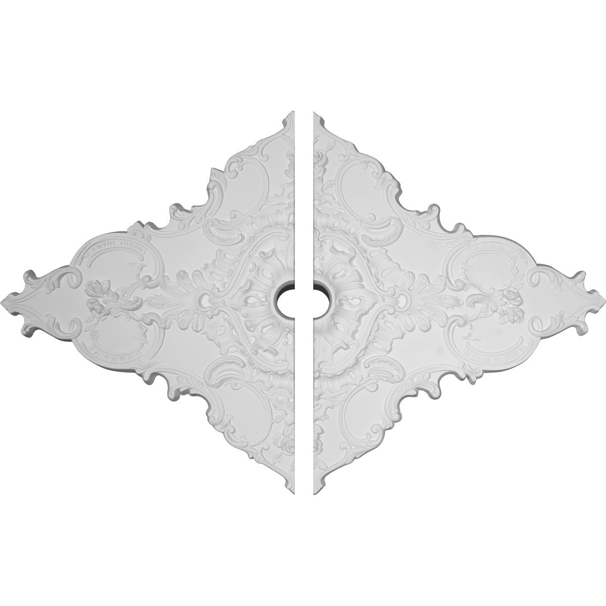 """EM-CM70X43ML2 - 67 1/4""""W x 43 3/8""""H x 4""""ID x 2""""P Melchor Diamond Ceiling Medallion, Two Piece (Fits Canopies up to 4"""")"""