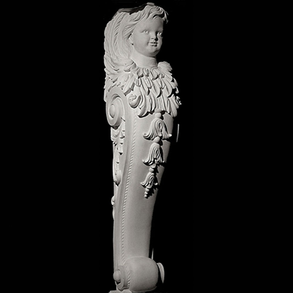 **SALE OVERSTOCK ITEM** BASE-103 Cherub and Acanthus Leaf Scroll with drop resin Fireplace Mantel Base
