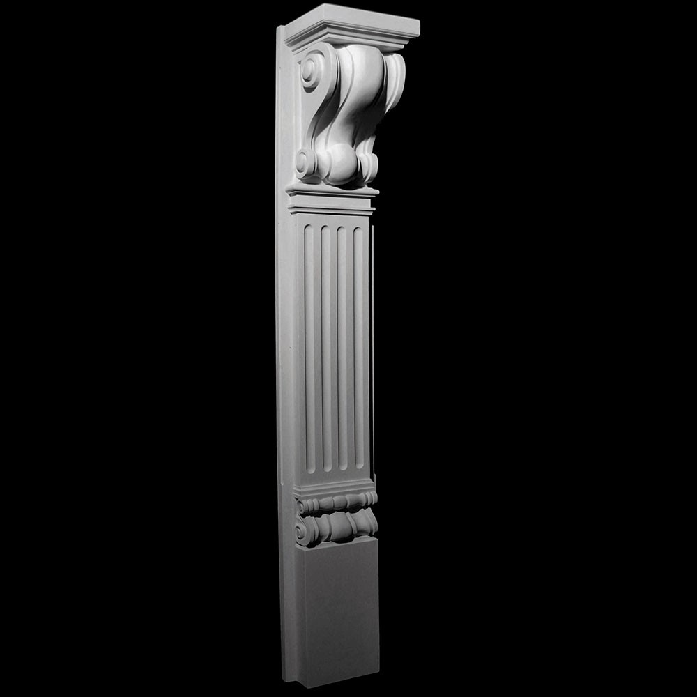 BASE-131 Fireplace Mantel Resin Base with Profile Corbel, Fluted Column and Profile Base)