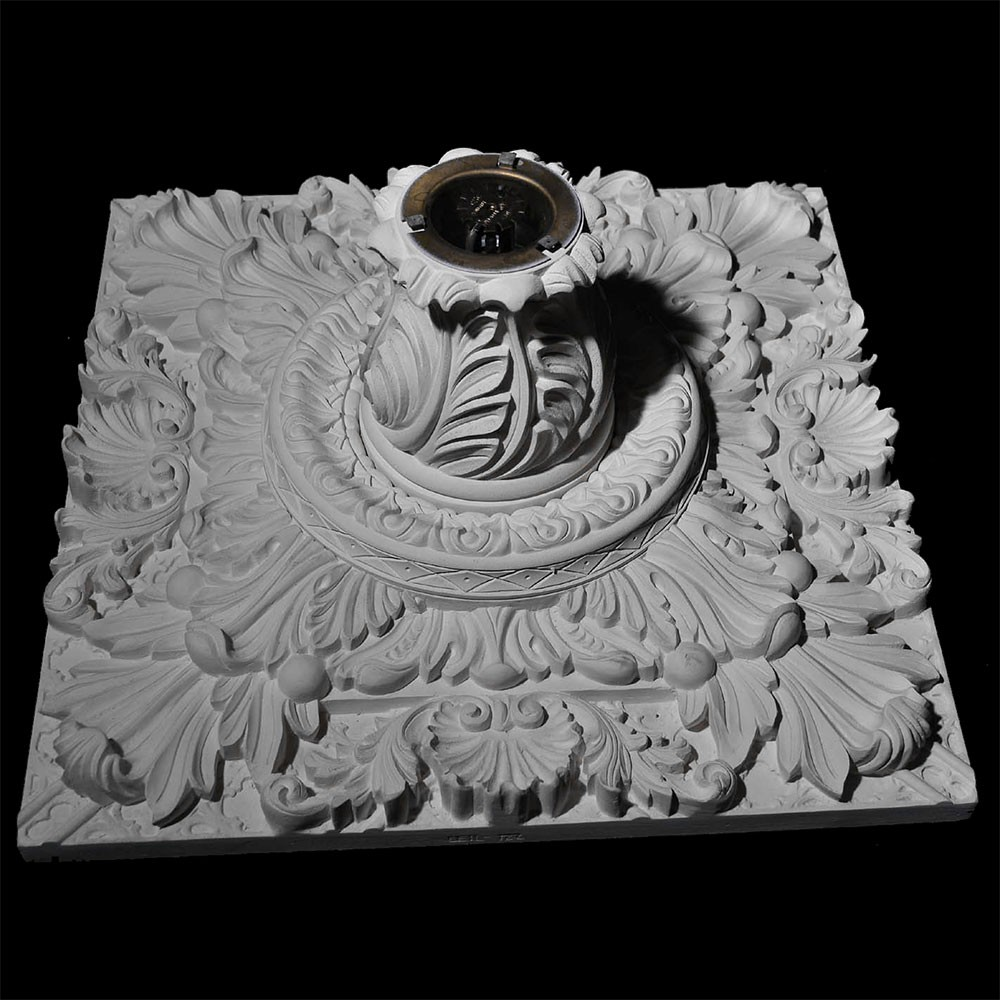 CEIL-123A Resin Acanthus Leaf and Shells Recessed Lighting Ceiling Tile