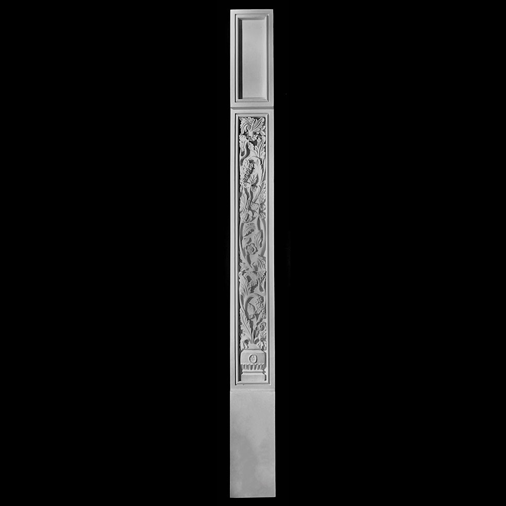 COLM-131A-1 Series Craftsman Style Resin Column With Acanthus Leaf Vase Pattern Onlay