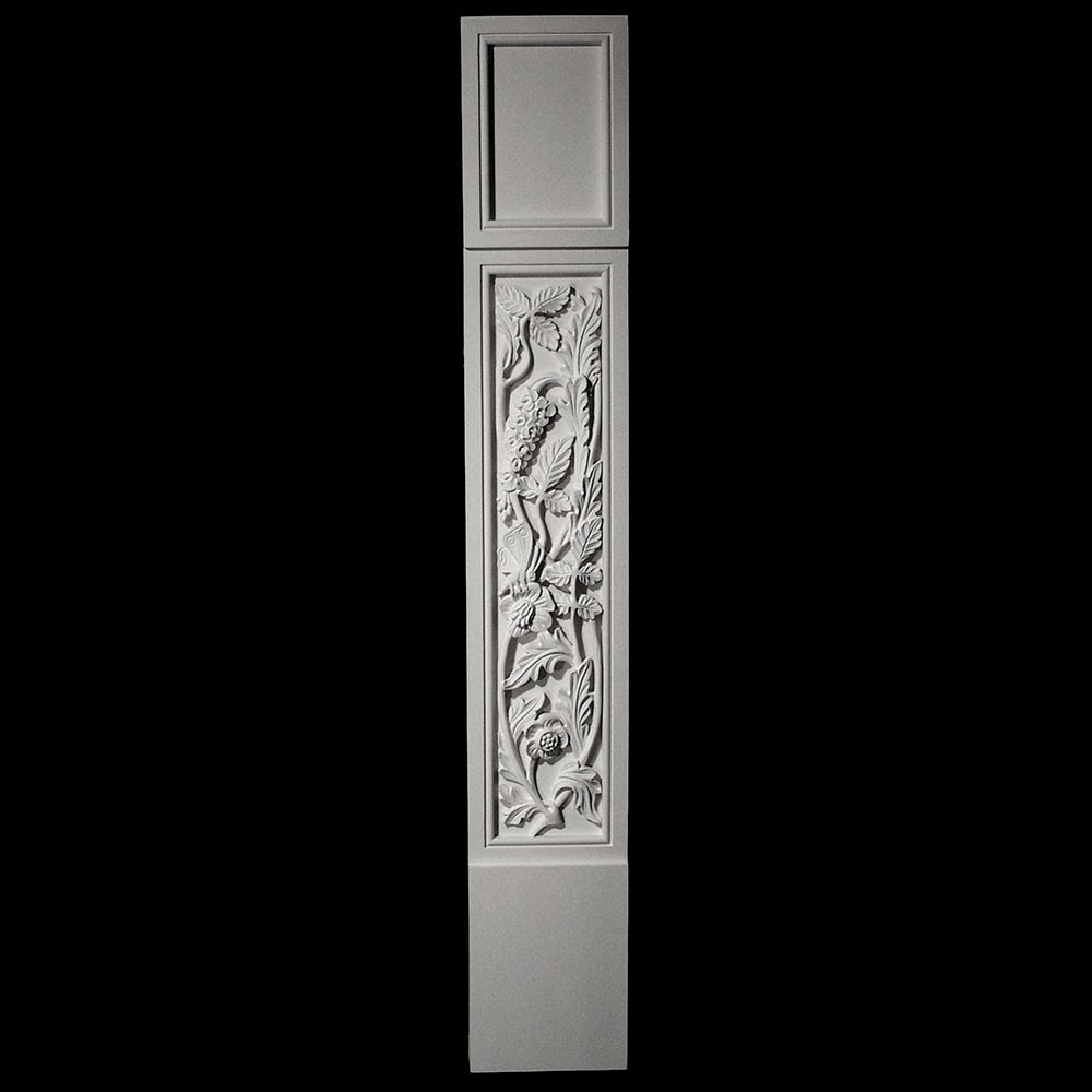 COLM-131-3 Series Craftsman Style Resin Column With Floral Pattern Onlay
