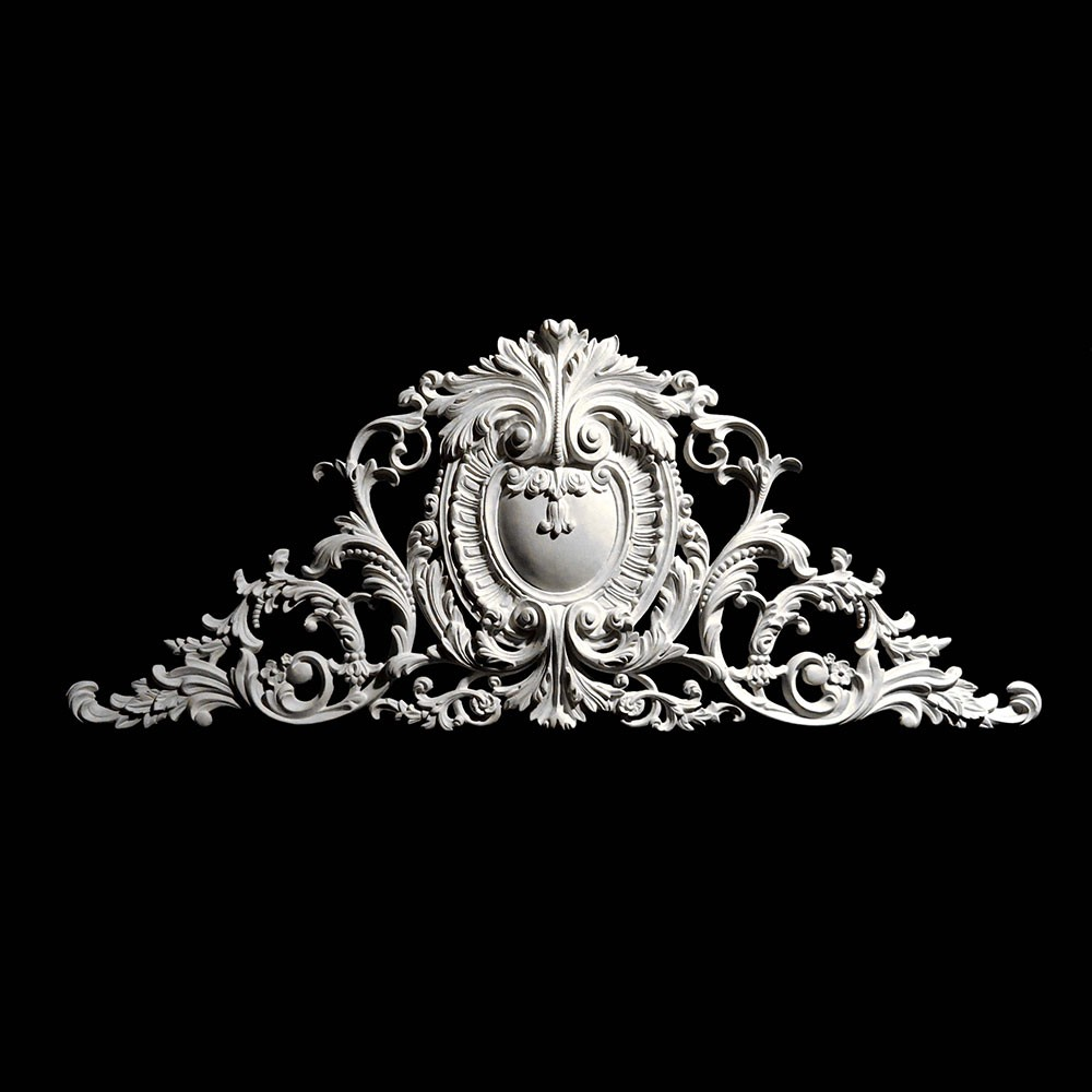 CP-125-EXT Series Acanthus Shield with Crest and Swag Resin Centerpiece