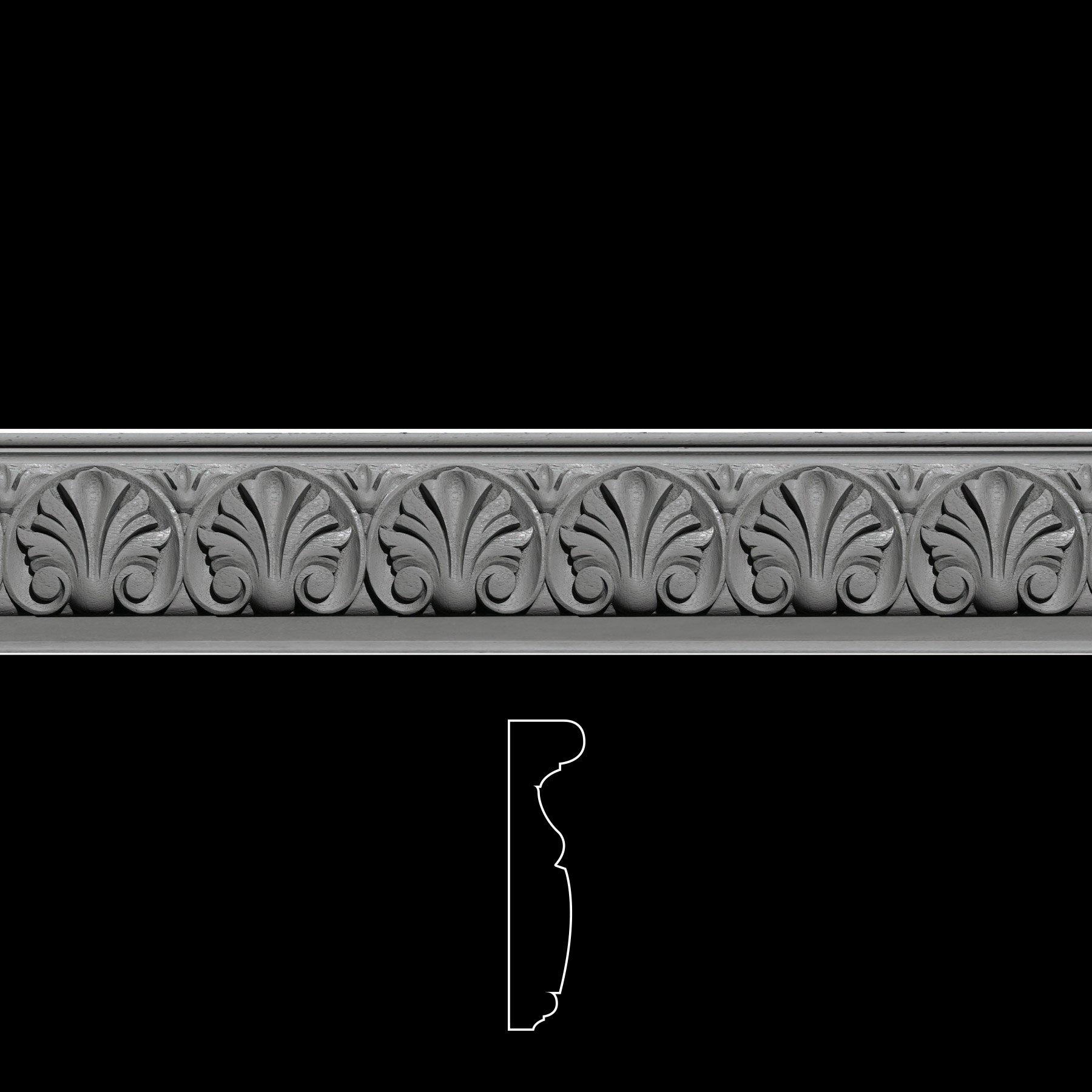 FRZ-192 Acanthus Leaf with Scroll Flexible Resin Frieze