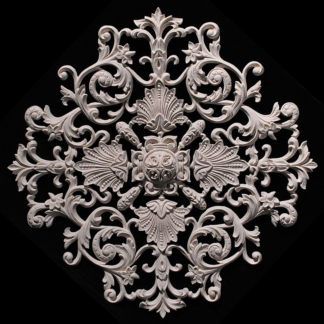 MD-101A Series Acanthus Leaf Scrolls with Shells and Rosette Resin Medallion