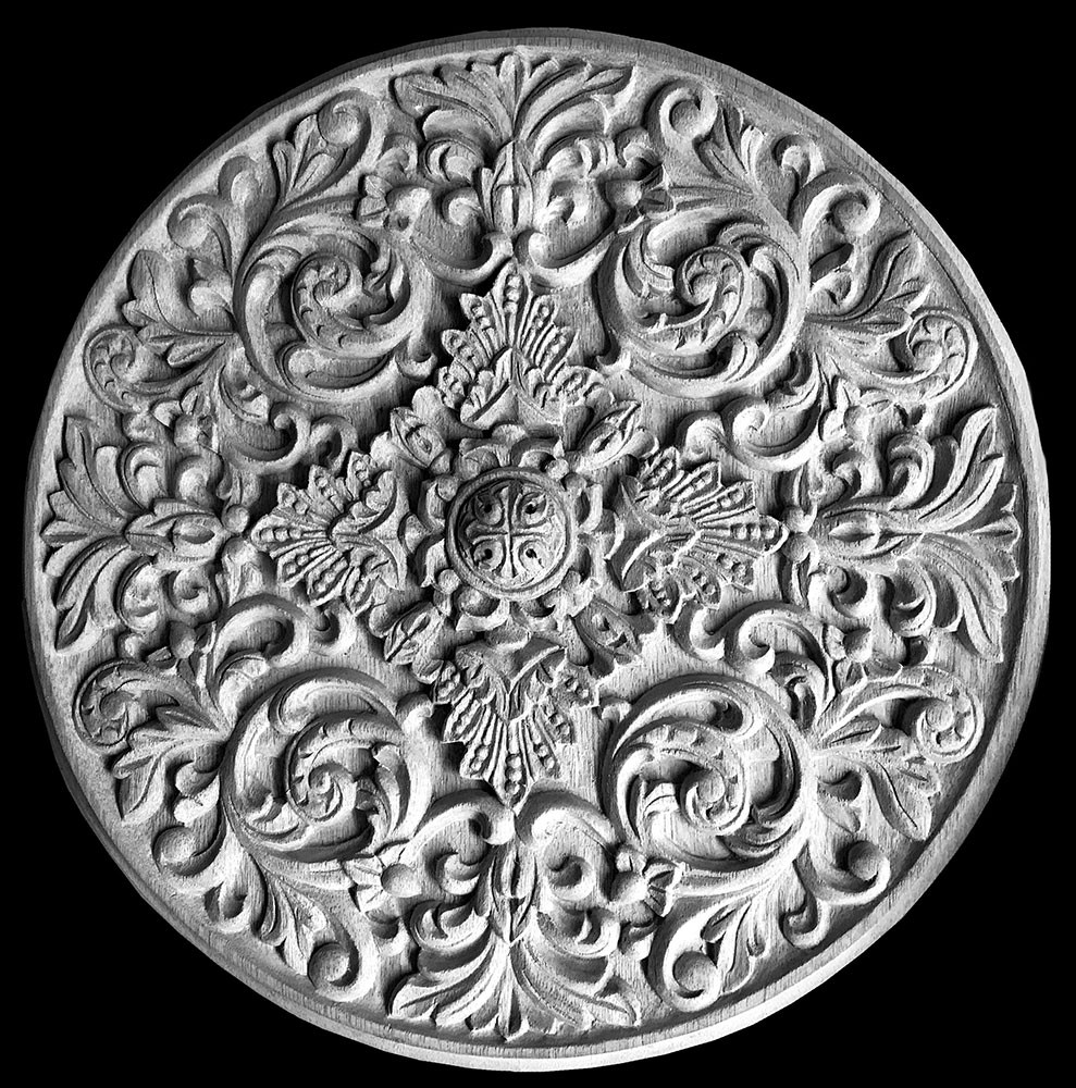 MD-167 Acanthus Leaf Scrolls with Shells and Rosette Resin Medallion