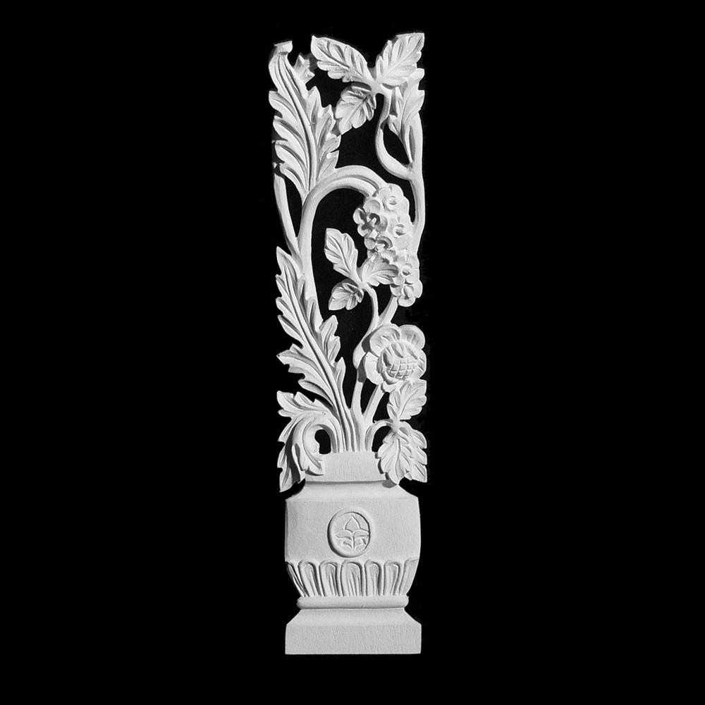 OL-421-1R Series Right Side Vase with Leaf and Vine Resin Onlay