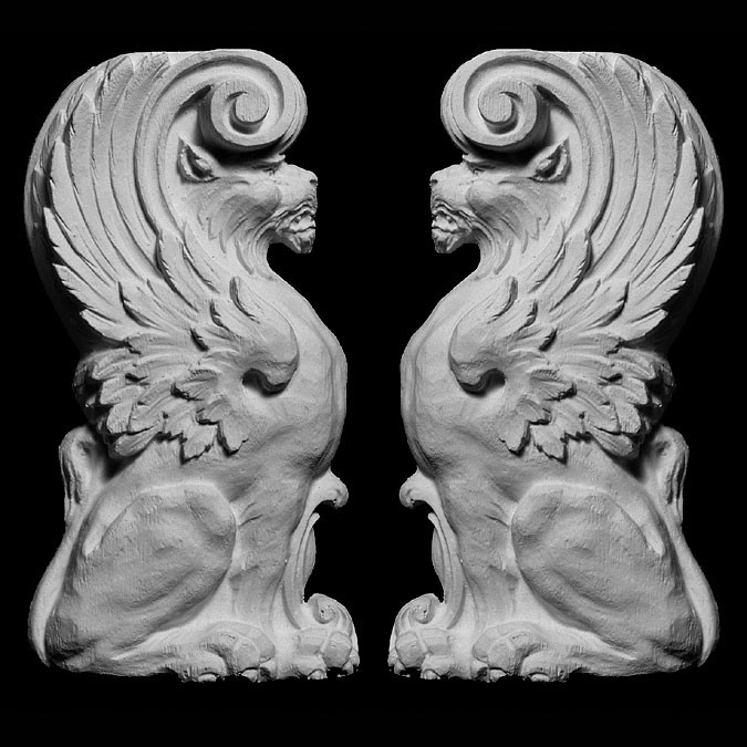 OL-546 Series Left and Right Lion with Wings Resin Onlay