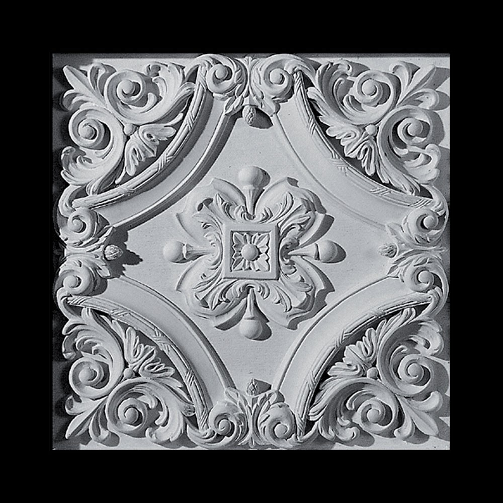 PANL-116B Scroll and Rosette Closed Back Resin Panel