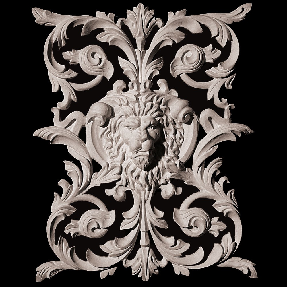 PANL-117 Series Lion's Face with Flower and Vine Resin Panel Insert
