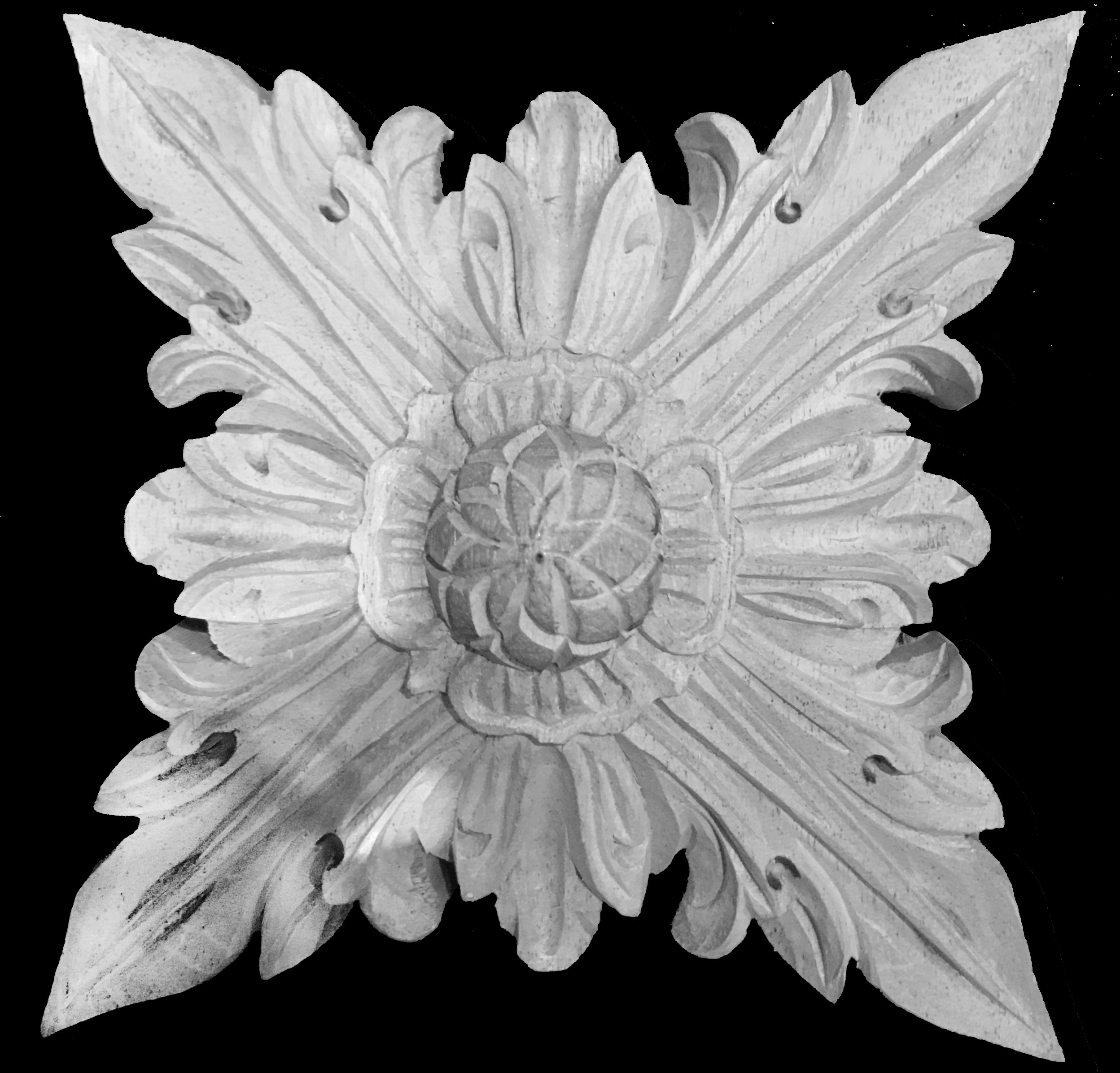 ROST-361 Series Square Leaf  with Raised Flower Center Resin Rosette