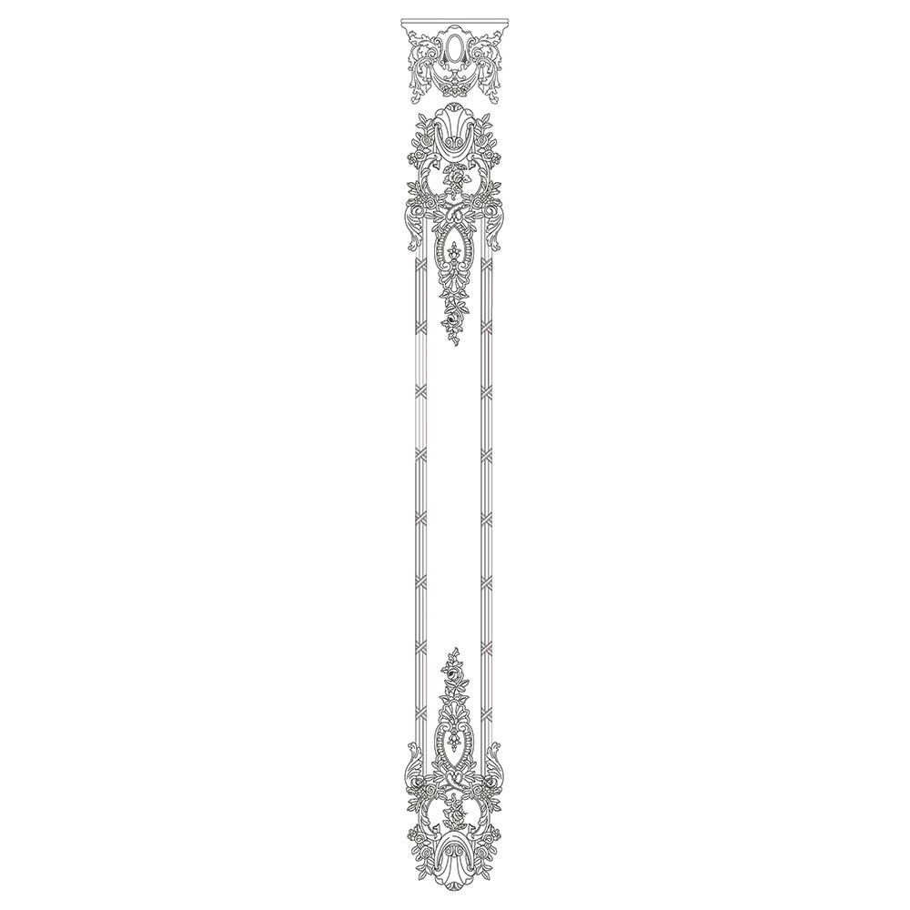 VS-1-4-4 Capitol Shield Top Acanthus Leaf Shell and Floral Drop with Ribbon and Reed Moulding Versailles Resin Collection