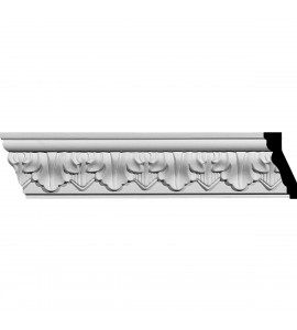 "EM-MLD02X01X02AS - 2 5/8""H x 1 1/4""P x 2 7/8""F x 94 1/2""L Ashur Leaf Crown Moulding"