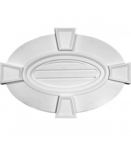"EM-GVOV29X20D - 29""W x 20""H x 1 3/4""P, Horizontal Oval Gable Vent Louver with Flat trim & Keystones, Decorative"