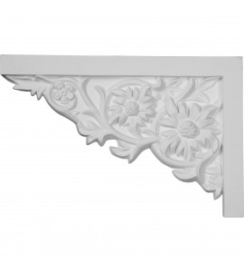 "EM-SB11X07FL-L - 11 3/4""W  x 7 7/8""H x  3/4""P Floral Large Stair Bracket, Left"