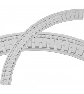 "EM-CR47DT - 47""OD x 40 1/2""ID x 3 1/4""W x 1 1/8""P Dentil and Bead Ceiling Ring (1/4 of complete circle)"