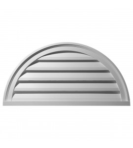 "EM-GVHR40F - 40""W x 20""H x 2 1/4""P, Half Round Gable Vent Louver, Functional"