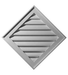 "EM-GVDI34X34F - 34""W x 34""H x 3 1/2""P, (24"" Sides) Diamond Gable Vent Louver, Functional"