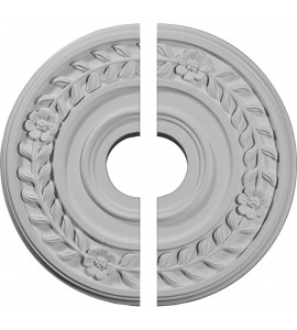 """EM-CM16WR2 - 16 1/4""""OD x 3 5/8""""ID x 1""""P Wreath Ceiling Medallion, Two Piece (Fits Canopies up to 5 1/2"""")"""