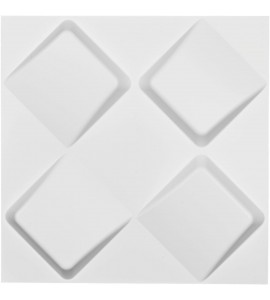 "EM-WP20X20BYWH - 19 5/8""W x 19 5/8""H Bradley EnduraWall Decorative 3D Wall Panel, White"