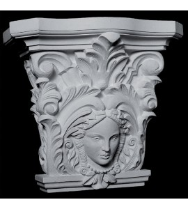 CAP-131 Series Acanthus Leaf and Woman Face Resin Capitol