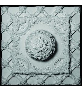 CEIL-120 Resin Ceiling Woven Grille Tile with Finial and Acanthus Leaf
