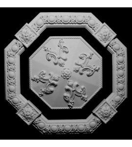 CEIL-402 Resin Octagon Alternating Oval Acanthus Leaf Rosette Block with Royal Charm Medallion Ceiling Tile